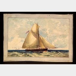 Attributed to Henry Schreiner Stellwagen (American, d. 1866)    Man of War Cutter.