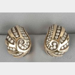 "Diamond ""Paisley"" Earclips, Marilyn Cooperman"