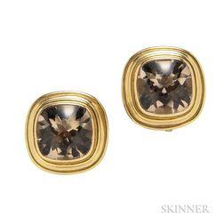 18kt Gold and Smoky Quartz Earrings, Elizabeth Locke