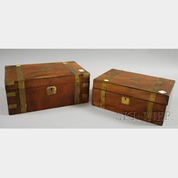 Two Brass-bound Mahogany Lap Desks