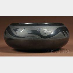 Southwest Black-on-Black Pottery Bowl