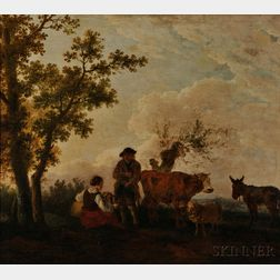 Dutch School, 19th Century      Country Couple with Sheep, a Cow, and Donkey