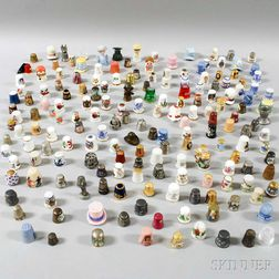 Large Group of Ceramic, Glass, and Brass Thimbles