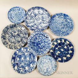Eight Spongeware Ceramic Plates