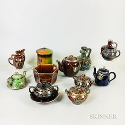 Fourteen Silver Overlay Ceramic Tableware Items