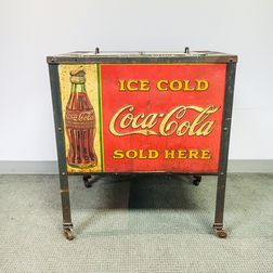 Vintage Lithographed Tin Coca-Cola Cooler