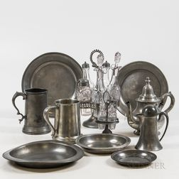 Small Group of Pewter Tableware.     Estimate $80-100