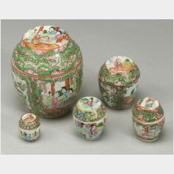 Five Rose Medallion Covered Boxes