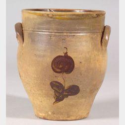 Floral Decorated Stoneware Jar
