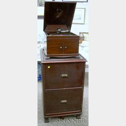 Victor Mahogany-cased Record Player on Cabinet
