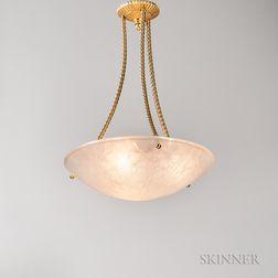 Art Deco Gilt-metal and Glass Light Fixture