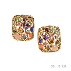 "18kt Gold Gem-set ""Fifties"" Earclips, Seaman Schepps"
