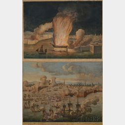 John B. Guerrazzi, publisher (Italian, Early 19th Century)      Two Views of Naval Engagements in the Tripolitan War.