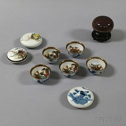 Group of Chinese Seal Paste Boxes and Japanese Cups