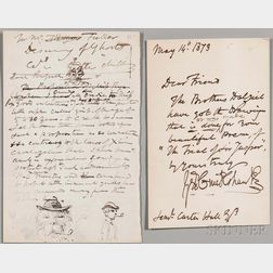Cruishank, George (1792-1878) Three Autograph Letters Signed, with Drawings.