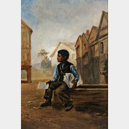 American School, 19th Century      Newspaper Boy Seated by a Water Trough