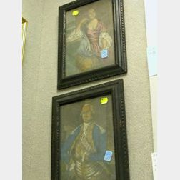 Pair of Framed Mezzotints of George and Martha Washington.