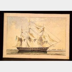 Attributed to Henry Schreiner Stellwagen (American, d. 1866)    Large Frigate at Anchor.
