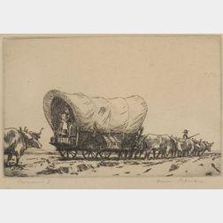 Hans Kleiber (German/American, 1887-1967)    Lot of Two Western Scenes:  Pioneers I