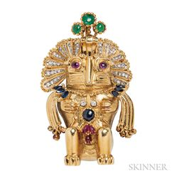 18kt Gold Gem-set Figural Pendant/Brooch