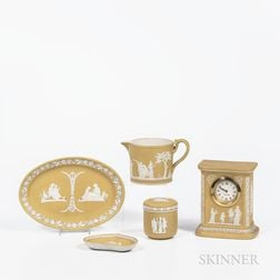 Five Wedgwood Yellow Jasper Dip Items