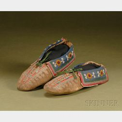 Northeast Beaded and Quilled Cloth and Hide Moccasins