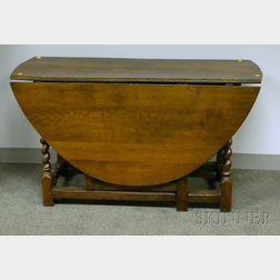 William & Mary Oak Drop-leaf Gate-leg Table with Barley-twist Legs