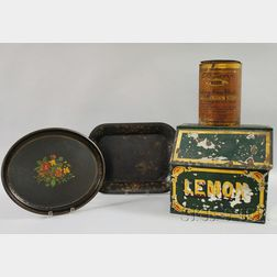 Two Tole Trays, a Lithograph Retail Nuts Can, and a Painted Tin Lemon Counter Bin.