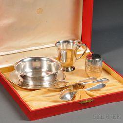 Six-piece Cartier Sterling Silver Children's Dining Set and Gorham Sterling   Silver Child's Bank
