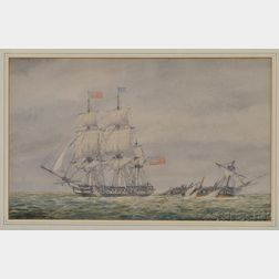 Possibly John Christian Schetky (Scottish, 1778-1874) The Action Between H.M.S. Macedonian and American Frigate United States 25 Octobe