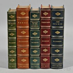 Michener, James A. (1907-1997) Five Signed First Editions in Leather.