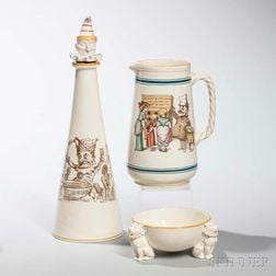 Three Wedgwood Queen's Ware Punch   Items