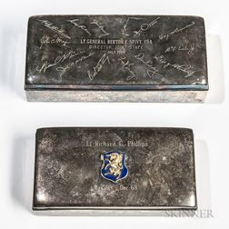 Two Silver-plated Presentation Cigarette Boxes