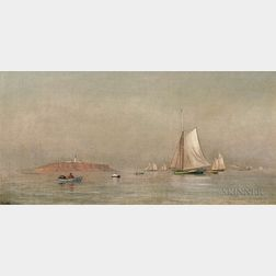 Francis A. Silva (American, 1835-1886)      Quiet Coastal View with Schooners and Lighthouse