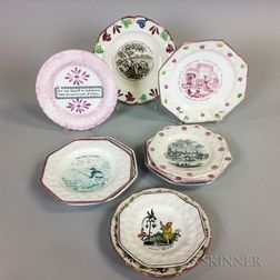 Ten English Transfer-decorated Pink Lustre Ceramic Children's Plates