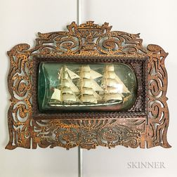 Ship in a Bottle with Tramp Art Frame