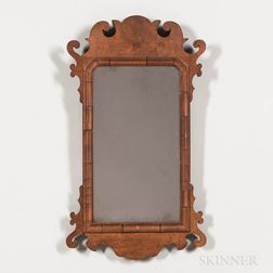 Mahogany Veneer Scroll Frame Mirror