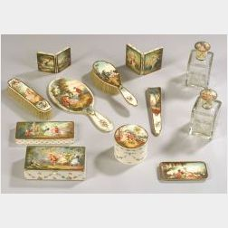 Assembled Louis XV-style Eighteen Piece Painted Ivory Vanity Set