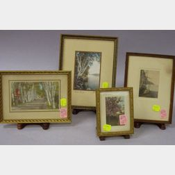 Four Small Framed Hand-colored Landscape Photographs