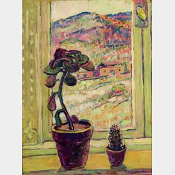 Russell K. Cheney (American, 1881-1945)    Potted Plants on a Window Sill
