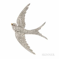 Antique T.B. Starr Gold and Diamond Swallow Brooch