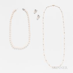Cultured Pearl Necklace, a Pair of Cultured Pearl and Diamond Earclips, and a Freshwater Pearl Necklace