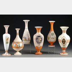 Six Greek Revival Opaline/Bristol Glass Vases