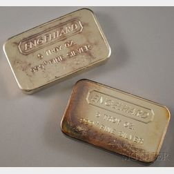Two Five Troy Ounce .999 Silver Bars, Englehard.