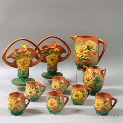 Ten Roseville Pottery Peony Pattern Items