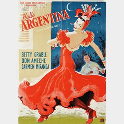 Five Vintage Dance and Ballet Posters:      Danish School, 20th Century, Hallo Argentina / Poster for Down Argentine Way