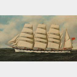 Antonio Nicolo Gasparo Jacobsen (Danish/American, 1850-1921)      Portrait of the Four-masted Scottish Bark STRATHGRYFE