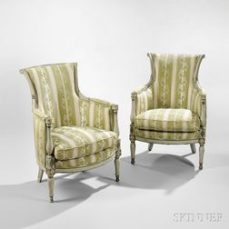 Pair of Directoire Green and Gray-Painted Bergeres