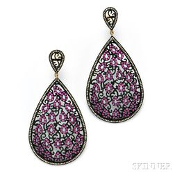 14kt Blackened Gold, Pink Sapphire, and Diamond Earpendants