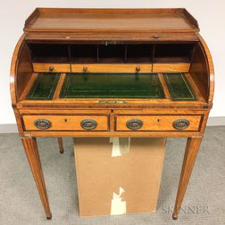 Diminutive Regency Satinwood- and Mahogany-veneered Roll-top Desk